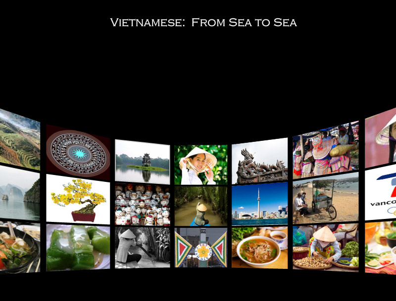 A collage of images that displays the various images of Vietnam and Canada